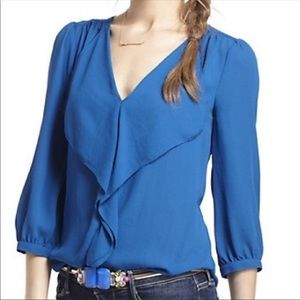 Anthro Maeve Ruffle Front Blouse Top Shirt Blue